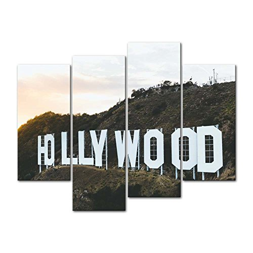 Canvas Print Wall Art Decor Hollywood Picture Place Name Letter On Hill Pictures Landscape Artwork USA City Poster Prints Stretched On Wooden Frame 4 Panel Image For Home Living Room Office Decoration -