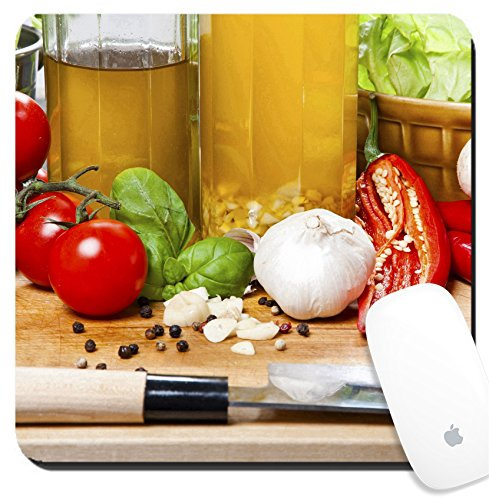 Luxlady Suqare Mousepad 8x8 Inch Mouse Pads/Mat design IMAGE ID 25654169 Olive oil basil and vegetables