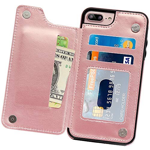 Cheap iPhone 8 Plus Case, iPhone 7 Plus Case, MMHUO Premium PU Leather iPhone 8 Plus Wallet Case Kickstand with Card Slots Magnetic Buttons Folio Flip Protective Case for iPhone 7 Plus/8 Plus – Rose Gold