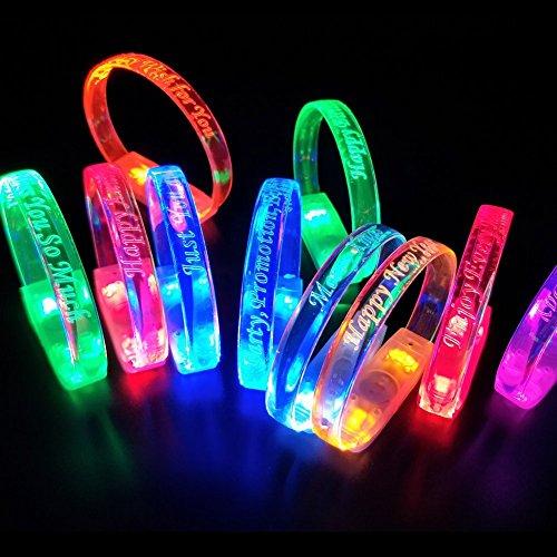MASBRILL Led Wristband Bracelet Light Up Flashing Bangle Bracelets Colorful for Disco Pub Bar Party Running Walking (30pcs) by MASBRILL