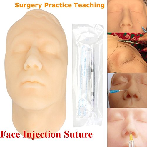 Silicone Head Injection Face Skin Suture Surgery Teaching Model Practice Kit Set by Generic