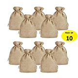 Jute Bags   Gift Bags for Return Gifts ( Pack of 10) ,   Size 14.5*9.5cms   Jute Linen,Burlap   Natural Jute Color  For Weddings , Functions, Parties, Baby Showers, Birthdays, Festivals or Any Occasion