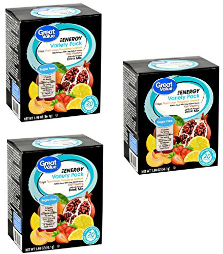 Great Value Energy Variety Pack Drink Mix, 20 count, 1.98 oz ( 3 Boxes - 60 Packets Total ) (Drink Value Great Mix)