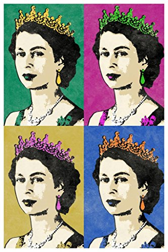 (Queen Elizabeth II Multicolor Pop Art Print Mural Giant Poster 36x54 inch)