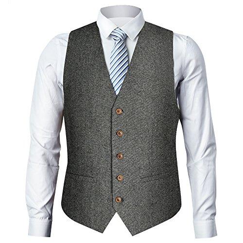 Zicac Men's Unique Advanced Custom Tweed Vest Skinny Wedding Dress Vest (M,Tweed Gray) by Zicac