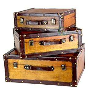 Vintiquewise(TM Old Vintage Suitcase/Decorative Trunk, Set of 3