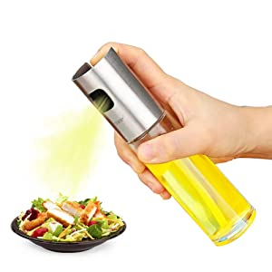 Olive Oil Sprayer, Food-Grade Stainless Steel Glass Oil Spray Bottle Vinegar Bottle Oil Dispenser Best for Cooking, Salad, BBQ, Kitchen Baking, Roasting