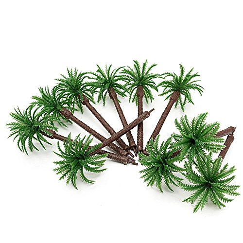 10Pcs Plastic Model Trees Coconut Tree Scenery Simulation Model Layout Home Office Decorative Crafts Minature Plants (Coconut Mall-shops)