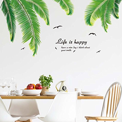 iwallsticker Palm Tree Wall Decals Wall Stickers for Kids Room Bedroom  Living Room Home ()