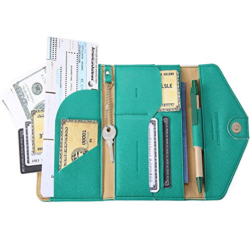 IVESIGN Travel Passport Wallet Trifold Envelope Document Organizer Holder With Free Pen ()