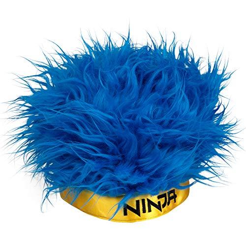 Ninja Streamer Headwear - Blue Hair Wig Hat with Yellow Ninja Headband - One Size Fits Most - 6+ ()