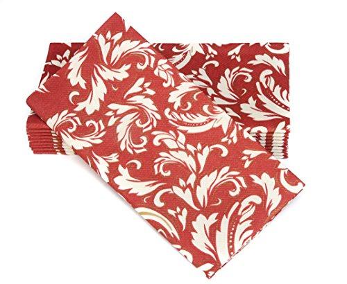 Simulinen Dinner Napkins - Disposable, Decorative Burgundy Cascade, Cloth-Like - Elegant, Yet Heavy Duty Soft, Absorbent & Durable - 16