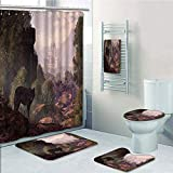 Bathroom Fashion 5 Piece Set shower curtain 3d print,Woodland Decor,A Wolf Coming out of the Woods with a Gothic Castle Lake Boat off in the distance,,Bath Mat,Bathroom Carpet Rug,Non-Slip,Bath Towls