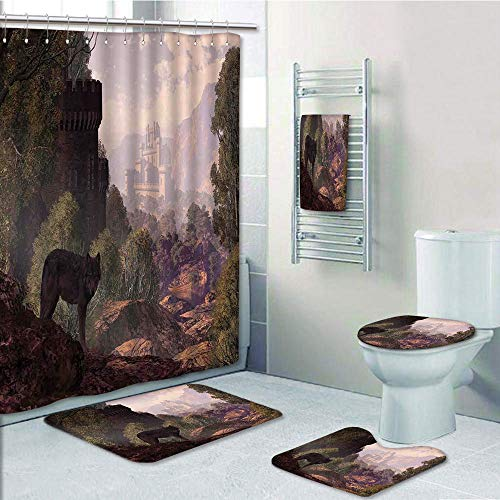Bathroom Fashion 5 Piece Set shower curtain 3d print,Woodland Decor,A Wolf Coming out of the Woods with a Gothic Castle Lake Boat off in the distance,,Bath Mat,Bathroom Carpet Rug,Non-Slip,Bath Towls by iPrint (Image #7)