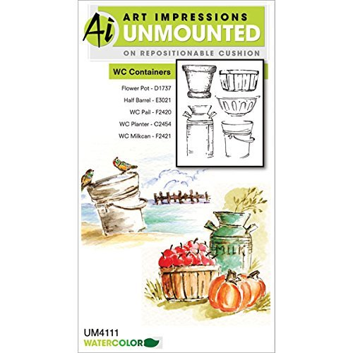 Art Impressions Watercolor Cling Rubber Stamps 4x7-Containers