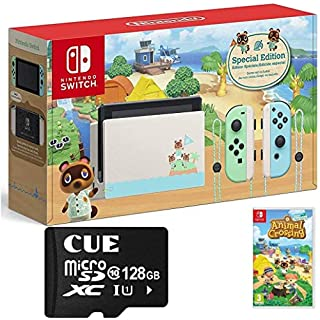 """Nintendo Switch with Green and Blue Joy-Con - Animal Crossing: New Horizons Edition - 6.2"""" Touchscreen LCD Display, WiFi, Bluetooth, CUE 128GB MicroSD Card Bundle"""