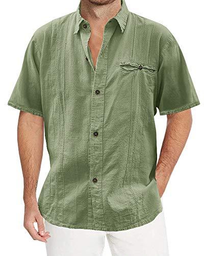 Pengfei Mens Linen Cotton Shirts Cuban Casual Button Down Short Sleeve Loose Fit Fishing Shirt