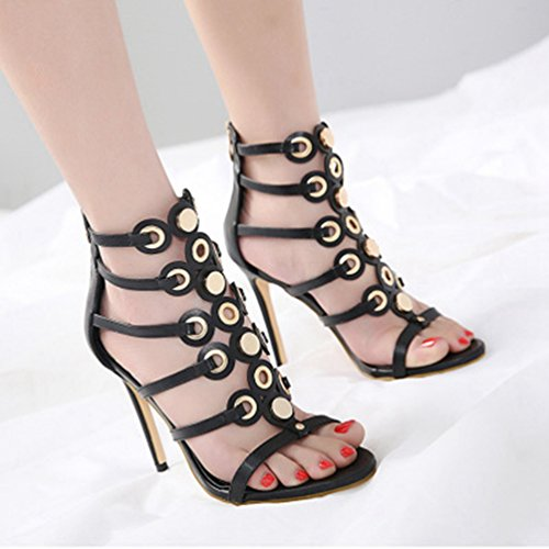 Rivets Femmes Open Sandales Zipper Toe Lanières Gladiateur Caged Talon Haut dérapant Stiletto Dress À Anti Noir Pump rIqr80