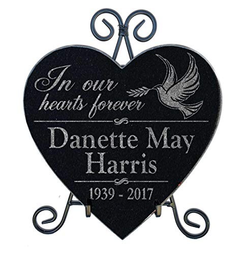 Personalized-Pets-by-StockingFactory Heart in Our Hearts Forever Granite Memorial Stone in Loving Memory of Mom Dad Family Loss Sympathy Remembrance Garden Grave Marker with Stand