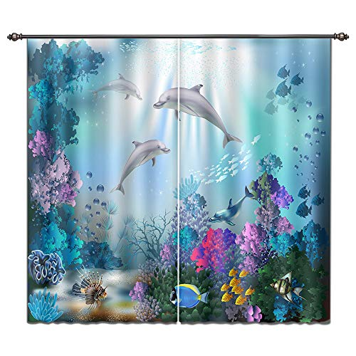 Dolphin Window - LB Dolphin Window Curtains for Bedroom Living Room,Dolphins Travel Through Underwater Coral Reefs Kids Room Darkening Blackout Curtains Drapes 2 Panels,28 by 65 inch Length