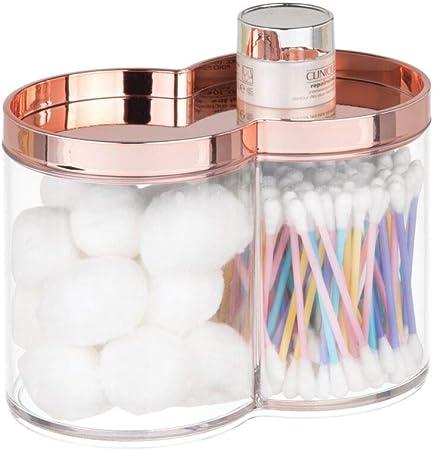 Amazon.com: mDesign - Tarro de plástico para baño con tapa ...