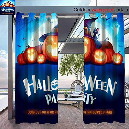 (QianHe Dance Outdoor Indoor Curtain - Halloween-Party-Jack-O-Lantern-Party-Halloween-Pumpkin-Patch-in-The-Moonlight-2.jpg Waterproof Patio Curtain W120 x)