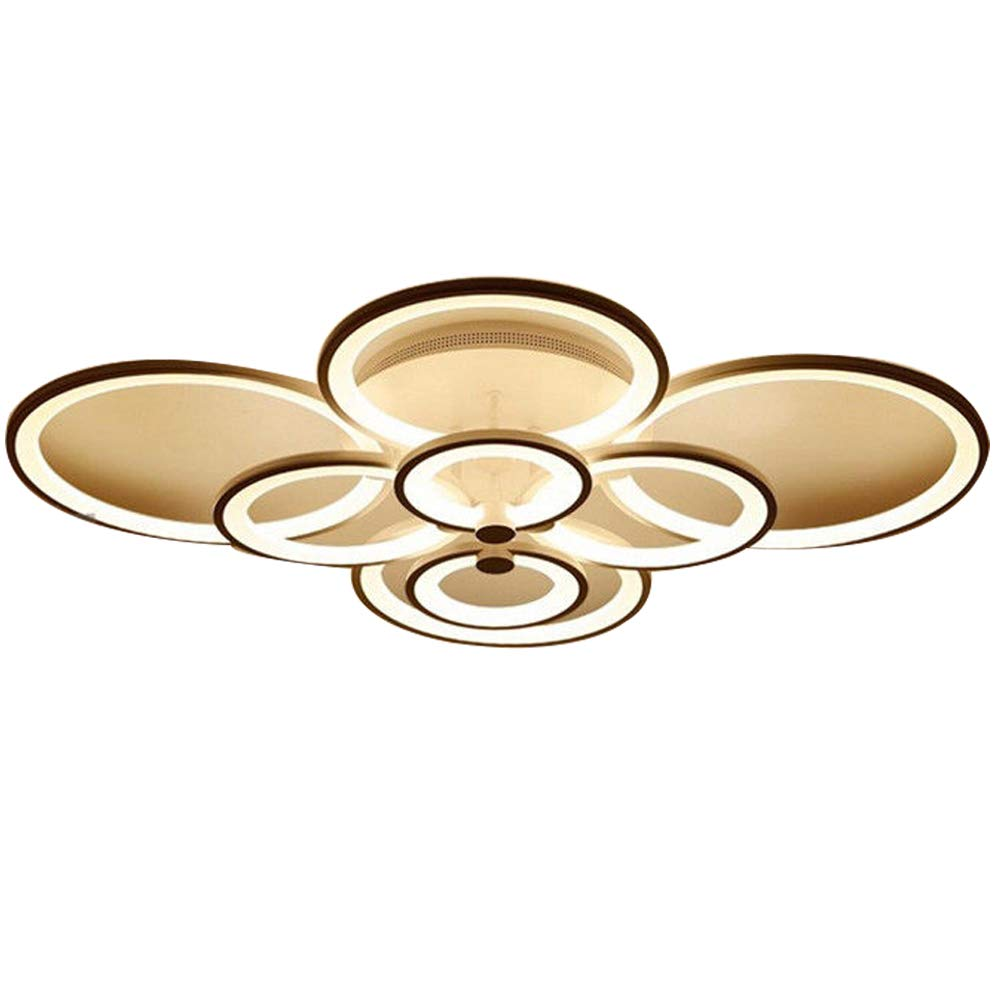 8-Heads LUOLAX Modern Simple Circle Ring Fashion Ceiling Lamp Acrylic Stepless Dimming LED Chandelier Light Fixtures for Living Room Bedroom Restaurant Decor(8-Heads)