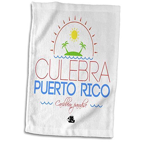 3dRose Alexis Design - Caribbean Beaches - Culebra, Puerto Rico, Caribbean Paradise Text and Image - 15x22 Hand Towel (TWL_304266_1)