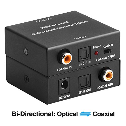 Optical to Coaxial OR Coax to Optical Digital Audio Converter, Bi-Directional Digital SPDIF Toslink Optical to/from Coaxial Digital Audio Signal Adapter/Repeater by ROOFULL