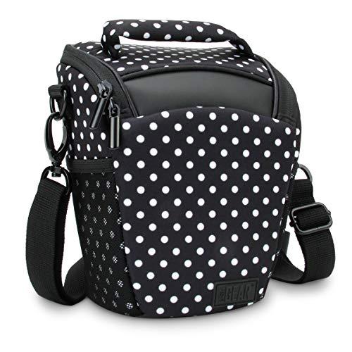 USA Gear SLR Camera Case Bag (Polka Dot) with Top Loading Accessibility, Adjustable Shoulder Sling, Padded Handle, Removable Rain Cover and Weather Resistant Bottom (Large Slr Camera Case)