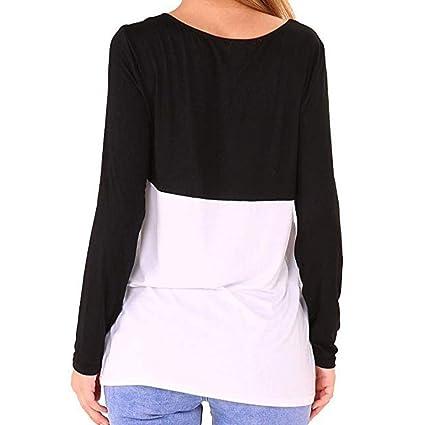 ❤ Camisetas Mujer Casual Empalme, Color Block Scoop Neck Long Sleeves Tops con Bolsillo Absolute: Amazon.es: Ropa y accesorios