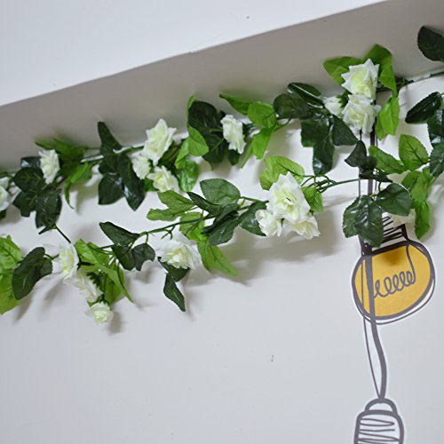 96 Inch Rose Vine Silk Flower Garland Artificial Flowers Plants Leaf Vine For Home Wedding Decoration Pack Of 3 (White)