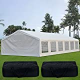 Quictent 20' x 40' Upgraded Galvanized Heavy Duty Gazebo Party Wedding Tent Canopy Carport Shelter with 8 Carry Bags(20x40, White)