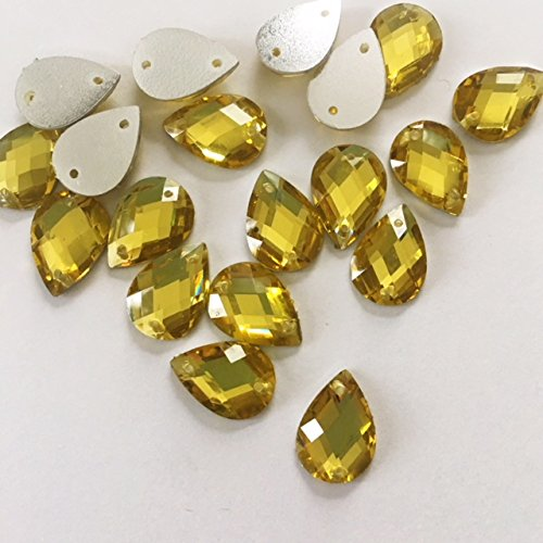 Crystal Light Gold Yellow Gold Teardrop Shape 10mm x 13mm Resin Stone Sew-on or Glue-On Sold Per Pack/150 Pcs by Top Trimming