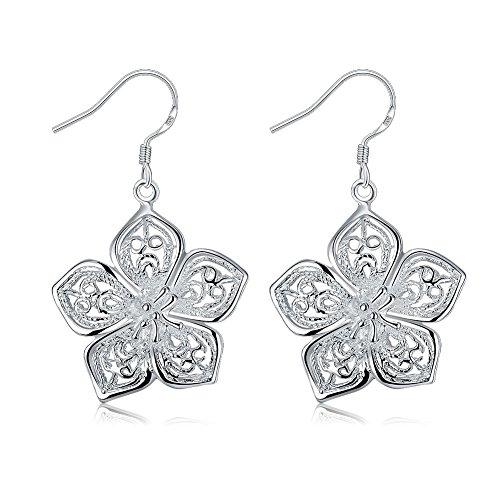 (DreamSter Silver Flower Dangle Earrings for Women Teen Girls Flower Drop Earrings Plated Sterling Silver, by (Sterling Silver Plated))