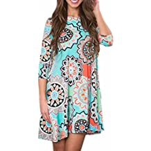 Tunic T Shirt Dress, Anxinke Women Casual Floral Printed 3/4 Sleeve Pleated Mini Dress with Pockets