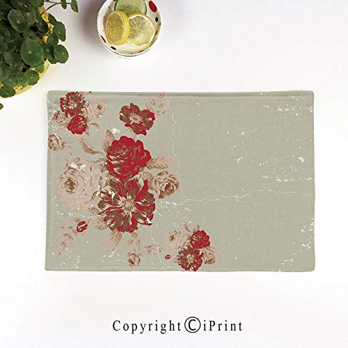 Cream Marble Beige - LIFEDZYLJH Heat-Resistant Placemats,Stain Resistant Anti-Skid Washable Table Mats Woven Vinyl Placemats,Vintage Style Rose Print on a Marble Pattern Floral Antique Design Garden Decor,Beige Cream Red