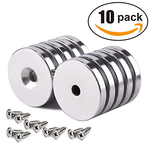 HTCARE 1.26''D x 0.2''H Neodymium Disc Countersunk Hole Magnets. Strong, Permanent, Rare Earth Magnets,with screws- Pack of 10 by HTCARE