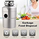 Garbage Disposals KUPPET 1.5 HP Household Food Feed,Home Kitchen Waste Large Capacity, With Plug 3600 RPM,Silver