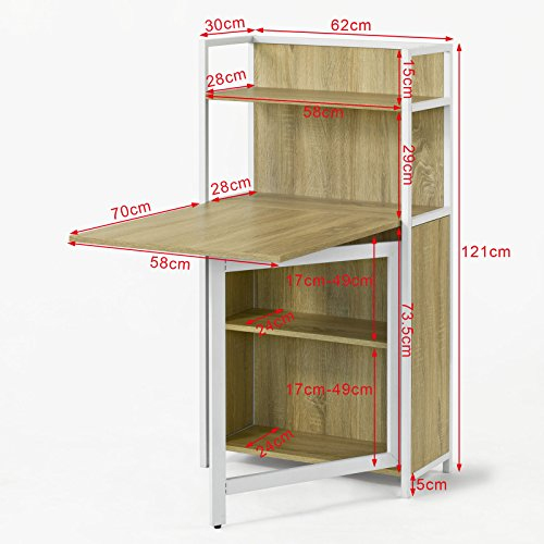 Sobuy Fwt12 N Table Pliante Armoire Avec Table Pliable Integree Table D Ordinateur Table De Cuisine Table De Rapas Bibliotheque Bureau