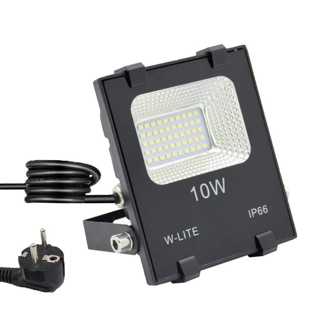 LED Strahler Außen, Fluter 30W mit Zuleitung, Aussenleuchte Wand mit EU-Stecker, IP66 Wasserdicht, Kaltweiß Superhell, Wandstrahler Gartenlampe w-lite