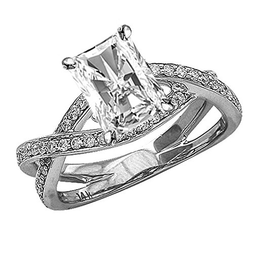 14K White Gold 1 CTW Eternity Love Criss Cross Twisting Split Shank Diamond Engagement Ring w/0.71 Ct Radiant Cut I Color VS2 Clarity Center ()