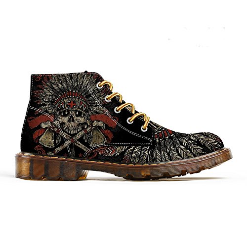 Indian Man Print Spring Mens Black Oxfords FIRST Skeleton Ankle Skull Shoes DANCE Martin Men Fashion Boots q6wRpIT