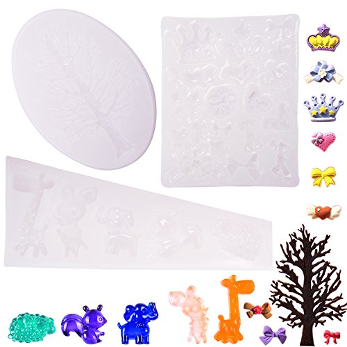 FASOTY 3 Pieces Animal Mold Crown Mold Tree Mold Bow Shape Mold DIY Silicone Resin Mold Crafting
