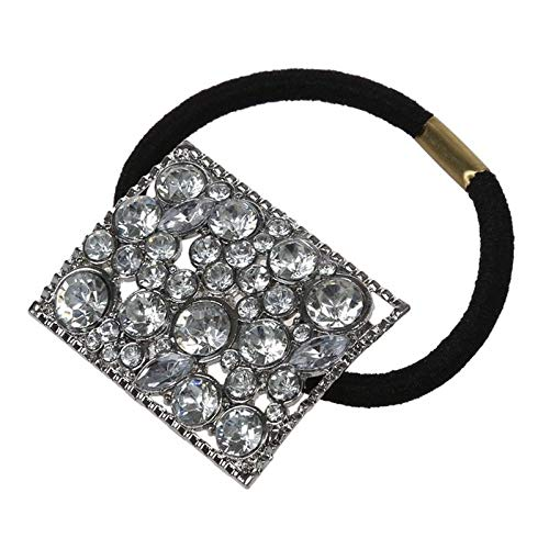 Silver Metal Rhinestone Hair Band Tie Ponytail Holder Girl Chic R4B6 -