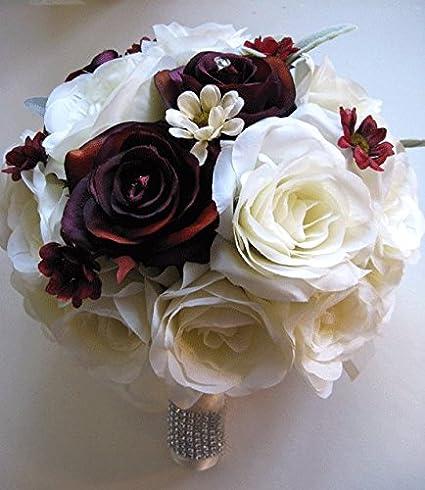 Amazon.com: Wedding Flowers Silk Bridal Bouquet BURGUNDY WINE CREAM ...