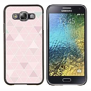 Patrón Polígono Arte Peach White Lines- Metal de aluminio y de plástico duro Caja del teléfono - Negro - Samsung Galaxy E5 / SM-E500