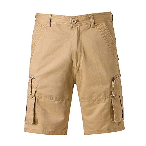 iZHH Men's Casual Pure Color Outdoors Pocket Beach Trouser Cargo Shorts Pant (Khaki,40) by iZHH