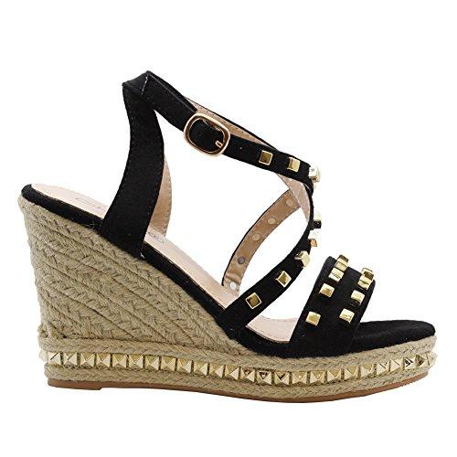 Saute Styles de Las Mujeres Alto Cuña Strappy Tachonado Alpargatas Plataforma Sandalias Talla de Zapatos 36-41 Negro