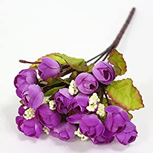 FYYDNZA Silk Flowers Artificial Flower Mini Rose Simulation Rose Home Decor For Wedding Party Small Roses Bouquet Decorative,G 15